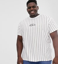 New Look Plus Vertical Stripe T Shirt In White
