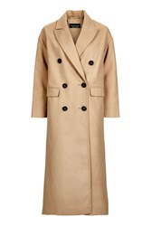 Topshop Double Breasted Slouch Coat Camel