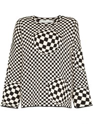 Off White Checked Intarsia Knit Jumper Black