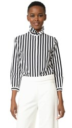 Nina Ricci Button Down Ruffle Blouse White Navy