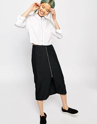 Monki Midi Skirt With Pocket Detail And Front Zip Black