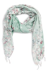 Hinge Women's Feathering Floral Scarf Teal Combo