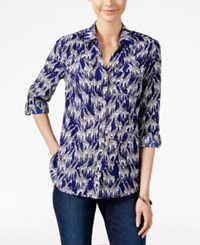 Charter Club Petite Giraffe Print Shirt Only At Macy's Modern Blue Combo