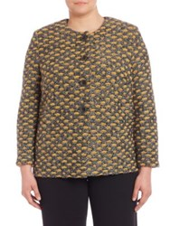 Stizzoli Plus Size Knit Roundneck Cardigan Yellow Multi