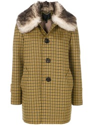 Marc Jacobs Fur Trimmed Single Breasted Coat Silk Nylon Polyester Lamb Fur Yellow Orange