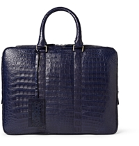 Santiago Gonzalez Slim Crocodile Briefcase Blue