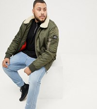 Schott Pilote Nylon Bomber Jacket With Detachable Faux Fur Collar In Green And Beige