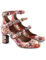 Tabitha Simmons Floral Tapestry Leather Buckled Ginger Heels Multi