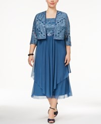 R And M Richards Plus Size Tiered A Line Dress Jacket Blue