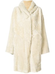 Sylvie Schimmel Hooded Shearling Coat Nude And Neutrals