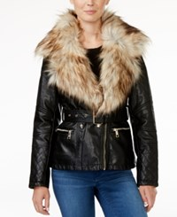 Guess Tori Faux Fur Trim Faux Leather Jacket Jet Black