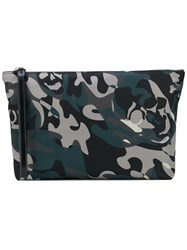 Alexander Mcqueen Camo Skull Clutch Men Cotton Leather One Size Black