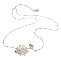 By Emily Just So Elephant And Leaf Necklace Silver