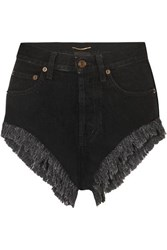 Saint Laurent Distressed Denim Shorts Black