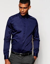 Reiss Formal Shirt With Bluff Collar In Slim Fit Navy