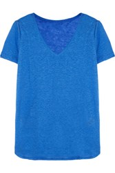 Majestic Slub Linen T Shirt Royal Blue