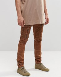 Asos Super Skinny Cargo Trousers With Zip In Washed Brown Glazed Ginger