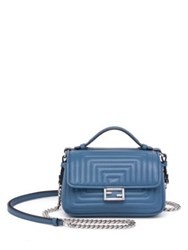 Fendi Micro Double Baguette Quilted Leather Chain Shoulder Bag Ceruleo Black