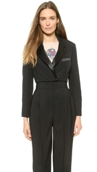 Vika Gazinskaya Cropped Tux Jacket Black