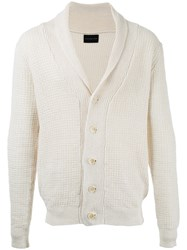 Estnation Ribbed Cardigan Men Linen Flax S White