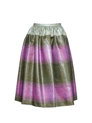 Marco De Vincenzo Metallic Striped Midi Skirt