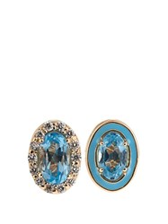 Alison Lou Diamond Topaz Enamel And Yellow Gold Earrings