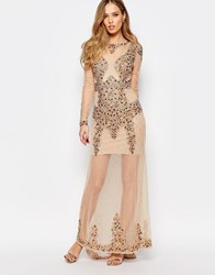 Maya All Over Embellished Maxi Dress With Long Sleeves Nude Multi
