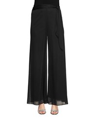 Alex Evenings Side Sash Mesh Dress Pants Black