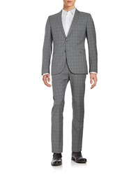 Strellson Plaid Wool Suit Set Grey