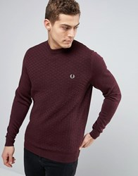 Fred Perry Texture Knit Jumper Checkerboard In Red Port Marl