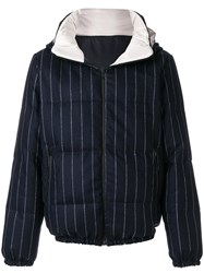 Lc23 Pinstripe Padded Jacket Feather Down Polyester Wool Xl Blue