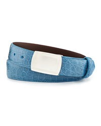 W.Kleinberg Glazed Alligator Belt With Plaque Buckle Sky Blue Made To Order