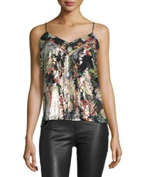 Haute Hippie Pintucked Floral Silk Camisole Peggy Lee Multi Pattern
