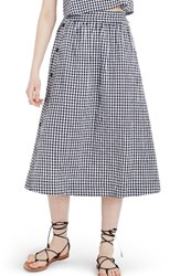 Madewell Women's Side Button Gingham Midi Skirt