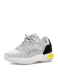 Fendi Runway Reflective Pvc And Mesh Trainer Dad Sneakers White Silver