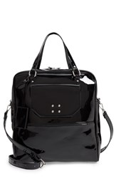 Leith Glossy Faux Leather Structured Tote Bag Black
