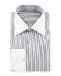 Stefano Ricci Contrast Collar Striped Dress Shirt White Black Women's