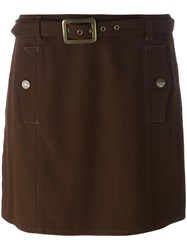 Moschino Vintage Belted Mini Skirt Brown