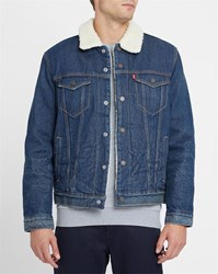 Levi's Denim Trucker Jacket With Sherpa Lining Blue