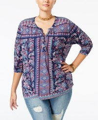 Lucky Brand Jeans Plus Size Mixed Print Blouse Navy Multi