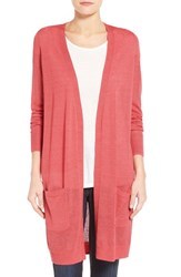 Women's Halogen Long Linen Blend Cardigan Coral Spice