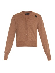 Rochas Logo Patch Wool Knit Cardigan