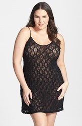 Only Hearts Club Plus Size Women's Only Hearts Stretch Lace Chemise Black