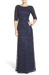Adrianna Papell Women's Sequin Mesh Gown Navy