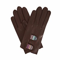 Gizelle Renee Samantha Dark Brown Leather Gloves With Brown And Mauve Braided Barcode Liberty Tana Lawn