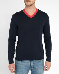 Paul Smith Navy Cotton Contrasting V Neck Sweater Blue
