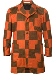 Comme Des Garcons Vintage Checked Single Breast Jacket Yellow And Orange
