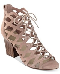 Marc Fisher Blair Lace Up Dress Sandals Women's Shoes Pink Suede