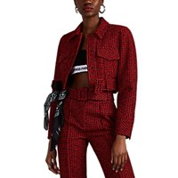 Alexander Wang Abstract Houndstooth Cotton Blend Tweed Jacket Multi