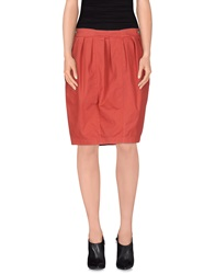 Manila Grace Denim Knee Length Skirts Brick Red